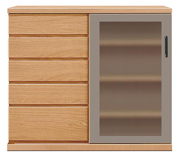 【天然木 食器棚・キッチンボード】幅110アーザ:ブラックチェリー(カウンター・キッチン収納・カップボード・ロータイプ・レンジ台・レンジボード・シンプル・北欧・モダン・スタイリッシュ・和風・完成品・リビング・おしゃれ)