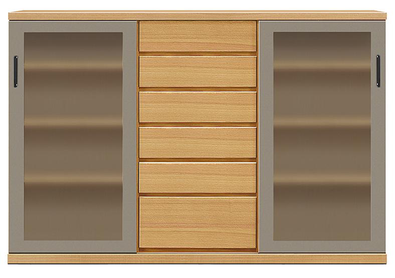 【天然木 食器棚・キッチンボード】幅170アーザ:レッドオーク(カウンター・キッチン収納・カップボード・ロータイプ・レンジ台・レンジボード・シンプル・北欧・モダン・スタイリッシュ・和風・完成品・リビング・おしゃれ)