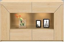【天然木 食器棚・キッチンボード】幅150シューヴァ:メイプル(カウンター・キッチン収納・カップボード・ロータイプ・レンジ台・レンジボード・シンプル・北欧・モダン・スタイリッシュ・和風・完成品・リビング・おしゃれ)