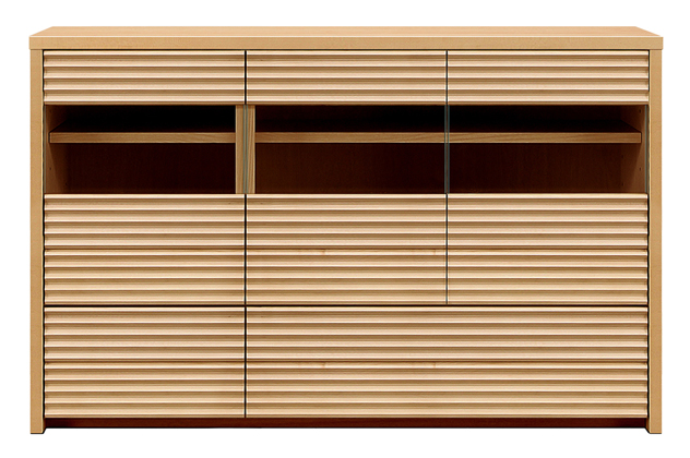【天然木 食器棚・キッチンボード】幅130コリーナ:メイプル(カウンター・キッチン収納・カップボード・ロータイプ・レンジ台・レンジボード・シンプル・北欧・モダン・スタイリッシュ・和風・完成品・リビング・おしゃれ)
